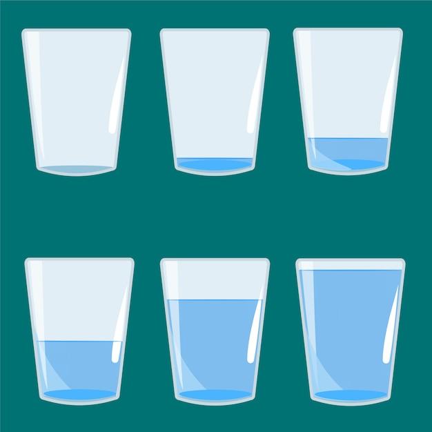 Verre vide et plein d'illustration vectorielle de l'eau Vecteur Premium