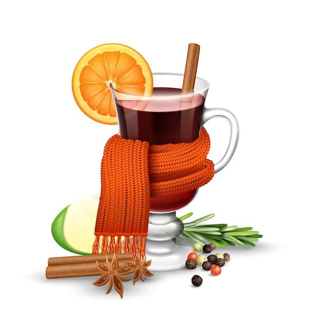 Verre à vin chaud réaliste avec des épices enveloppées dans une écharpe chaude Vecteur gratuit