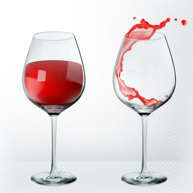 Verre à vin de transparence. Vecteur Premium