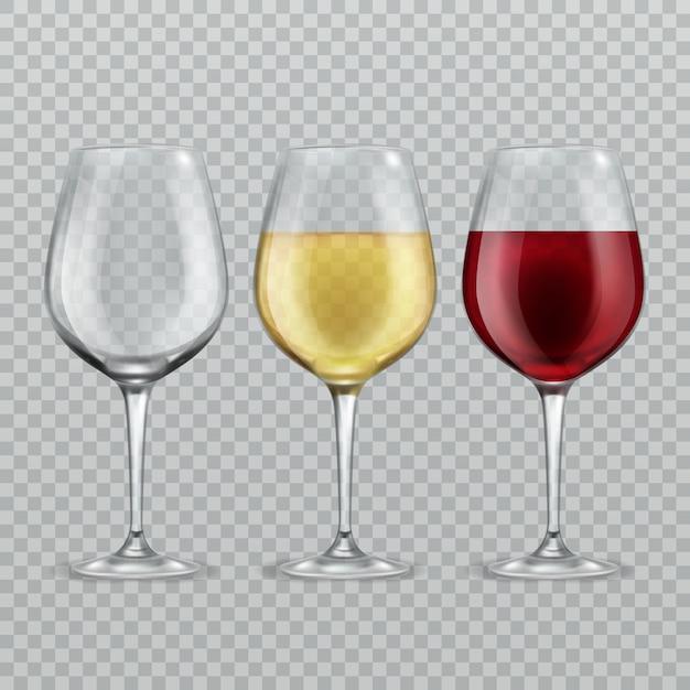 Verre De Vin. Vide Avec Du Vin Rouge Et Blanc Dans Des