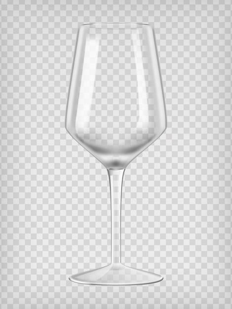 Verre à vin vide. illustration vectorielle réaliste transparent. Vecteur Premium