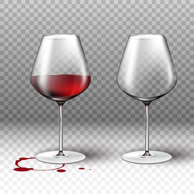 Verre à Vin Vide Et Plein Sur Fond Transparent Avec Une