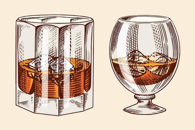 Verre Vintage D'illustration De Whisky Vecteur Premium