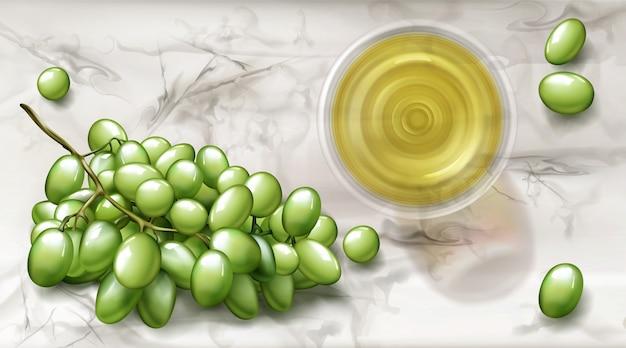 Verre Vue De Dessus Avec Bannière De Vin Blanc Et Raisins Vecteur gratuit