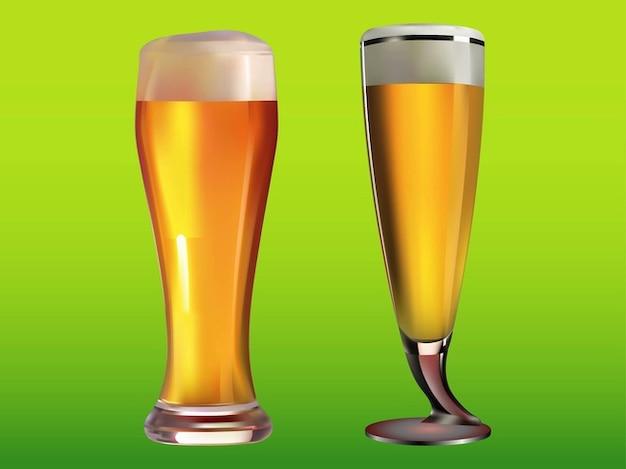 Des verres pleins de bière de boissons froides Vecteur gratuit