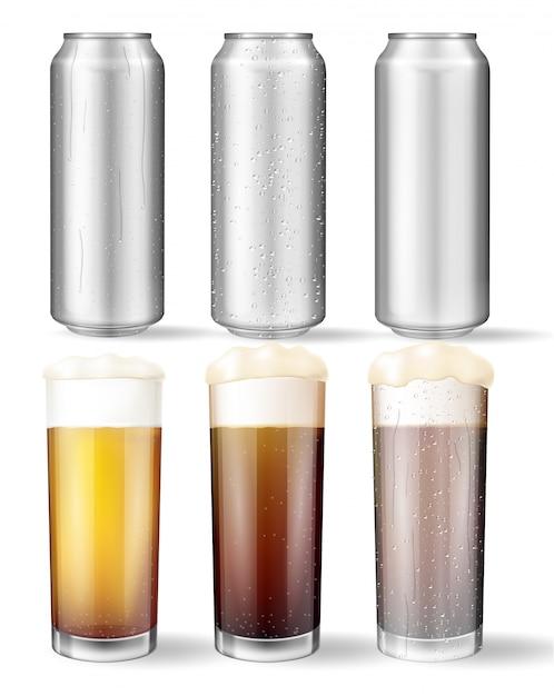 Verres en verre et canettes d'aluminium avec une bière Vecteur Premium