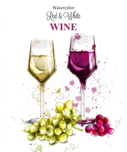 Verres à vin aquarelle Vecteur Premium