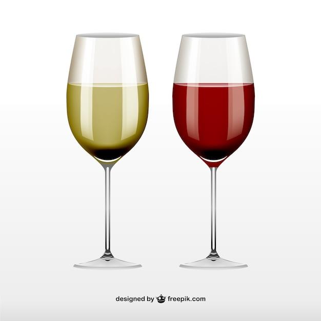 Verres De Vin Rouge Et Blanc Vecteur gratuit