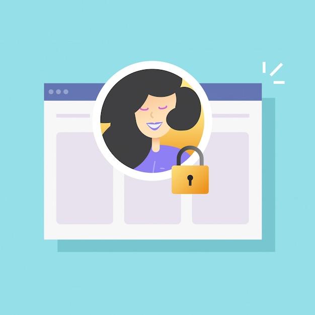 Verrouillage De La Confidentialité Du Profil Du Compte Utilisateur Ou Sécurité Internet Numérique Privée Protégée Avec Cadenas Fermé Vecteur Premium