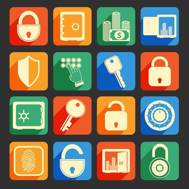 Verrouiller les icônes de sécurité Vecteur Premium