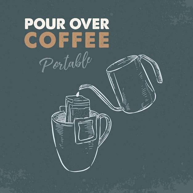 Verser sur le café portable. main dessiner un vecteur d'esquisse. Vecteur Premium