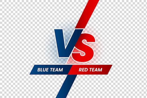 Verset Titre Duel, Cadre De L'équipe Rouge Contre Bleu, Compétition De Match De Jeu Et Confrontation Des équipes Isolées Vecteur Premium