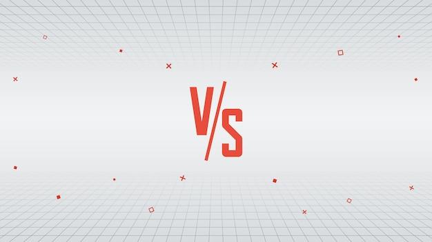 Versus vs design dans le style des années 80, fond monochrome minimal de lignes rétro avec des formes géométriques en mouvement Vecteur Premium
