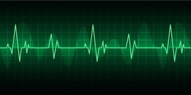 Vert cardiofréquencemètre avec signal. icône de battement de coeur. ekg Vecteur Premium
