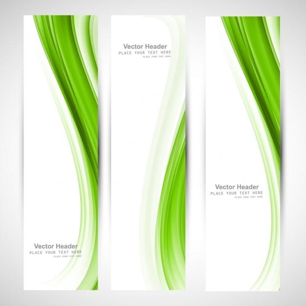 Vert Onduleux Abstrait Collection De Bannières Vecteur gratuit