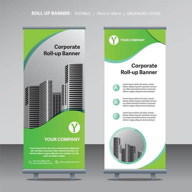 Vert retrousser le modèle de conception de bannière avec fond de ville Vecteur Premium