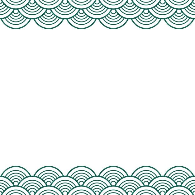 Vert sarcelle vague traditionnelle japonais frontière chinoise Vecteur Premium