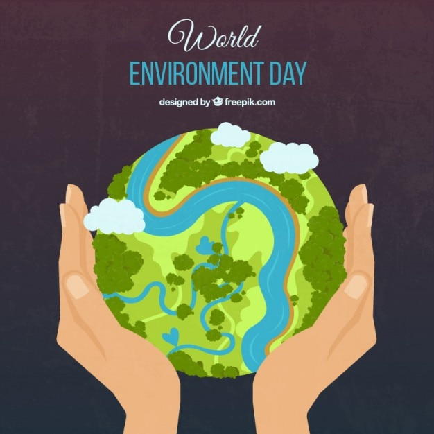 Vert la terre et les mains fond Vecteur Premium