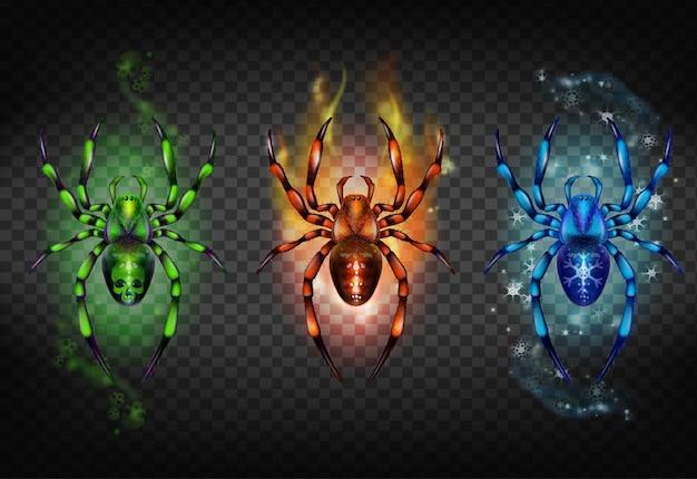Vert toxique avec crâne sur l'abdomen, flamme rougeoyante couverte Vecteur gratuit