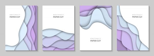 Vertical fond avec du papier coloré coupe les vagues Vecteur Premium