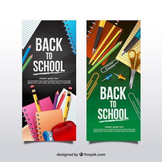 Vertical réaliste retour à l'école des bannières Vecteur gratuit