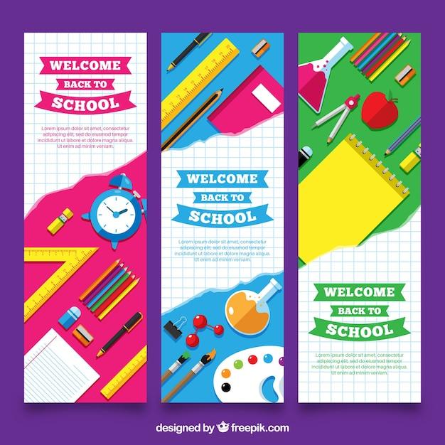 Vertical retour aux bannières scolaires Vecteur gratuit