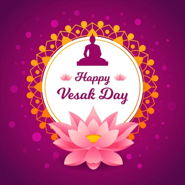 Vesak Plat Avec Fleur De Lotus Vecteur gratuit
