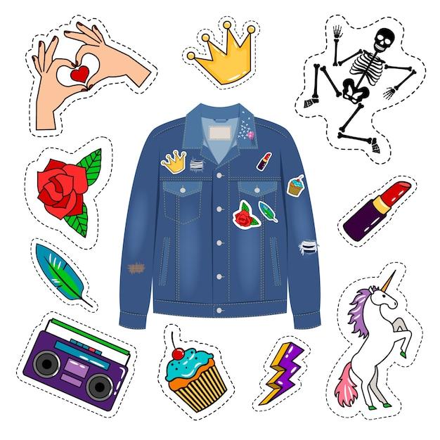 Veste en jean patchs Vecteur Premium