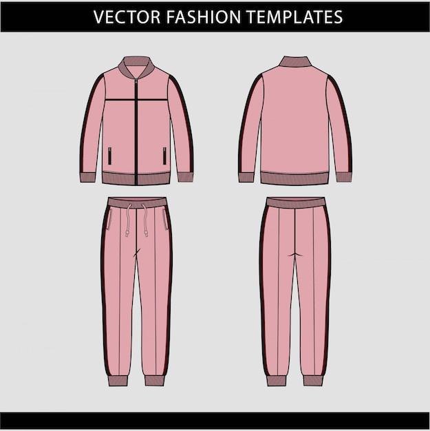 Veste Et Pantalon De Survêtement Modèle De Croquis Plat, Tenue De Jogging Avant Et Arrière, Tenue De Sport Vecteur Premium