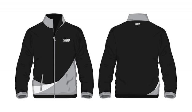 Veste De Sport Chemise Modèle Gris Et Noir Pour La Conception Sur Fond Blanc. Illustration Vectorielle Eps 10. Vecteur Premium