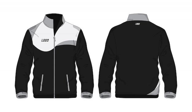 Veste De Sport Chemise Modèle Gris Et Noir Pour La Conception Sur Fond Blanc. Vecteur Premium