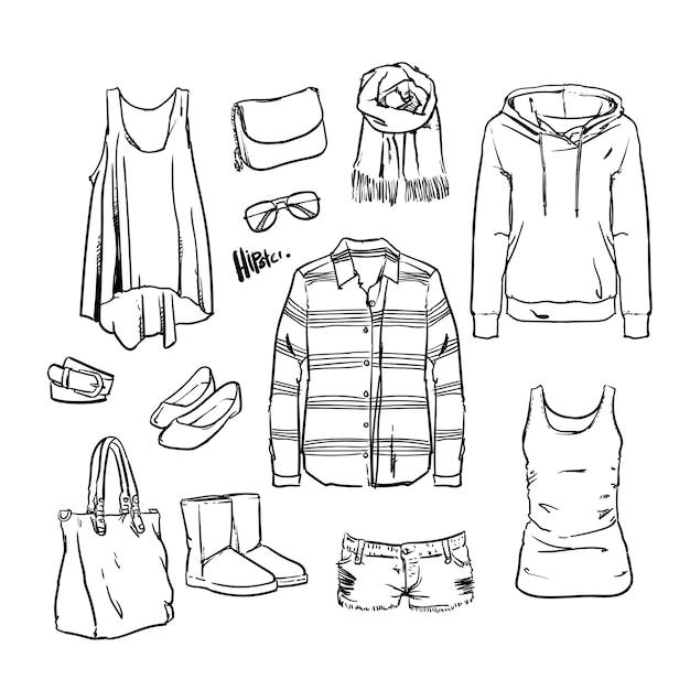 Vêtements et accessoires dessinés à la main Vecteur Premium
