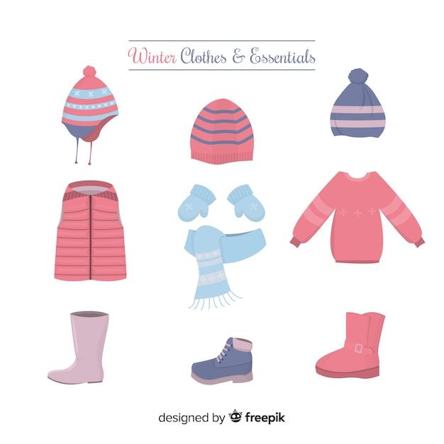 Vêtements et accessoires d'hiver essentiels Vecteur gratuit