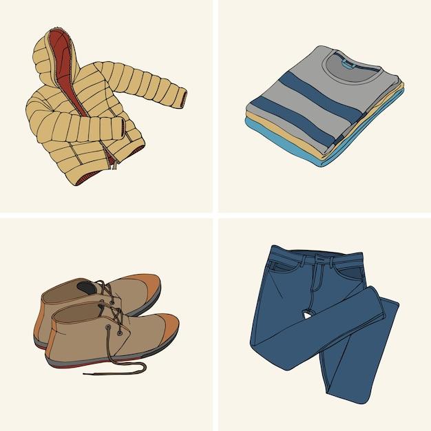 Vêtements et accessoires. set 9 Vecteur Premium