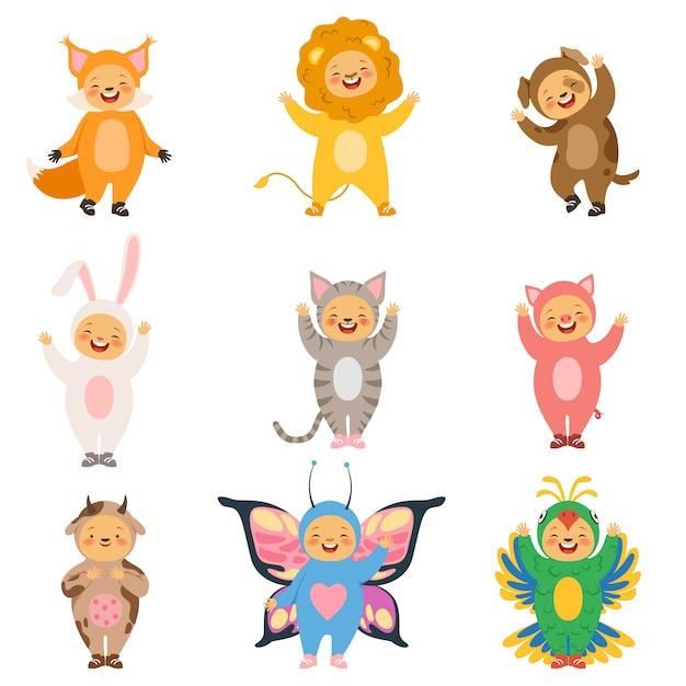 Vêtements enfant carnaval, animaux drôles de dessin animé costume Vecteur Premium