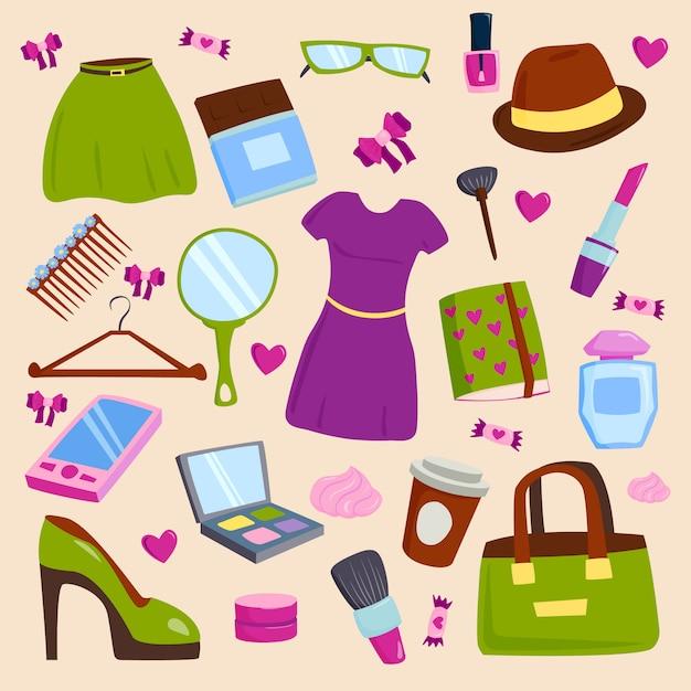 Vêtements d'été vecteur fille et accessoires isolés sur fond blanc Vecteur Premium