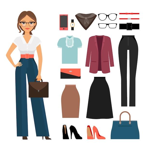 Vêtements de femme d'affaires Vecteur Premium
