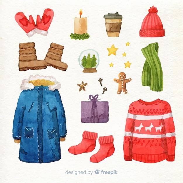 Vêtements d'hiver et décoration de noël Vecteur gratuit