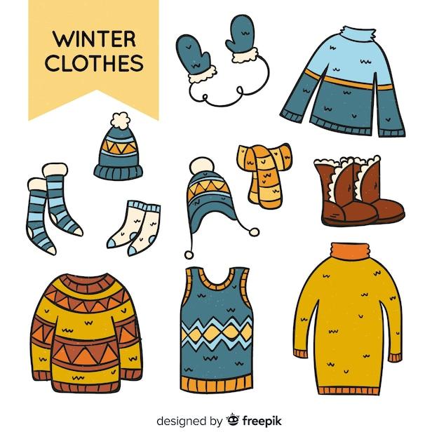 Vêtements d'hiver dessinés à la main Vecteur gratuit