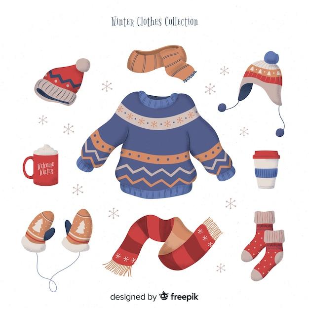 Vêtements d'hiver et l'essentiel Vecteur gratuit