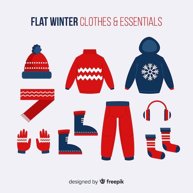 Vêtements D'hiver Et L'essentiel Vecteur Premium