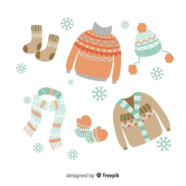 Vêtements d'hiver essentiels et essentiels Vecteur gratuit