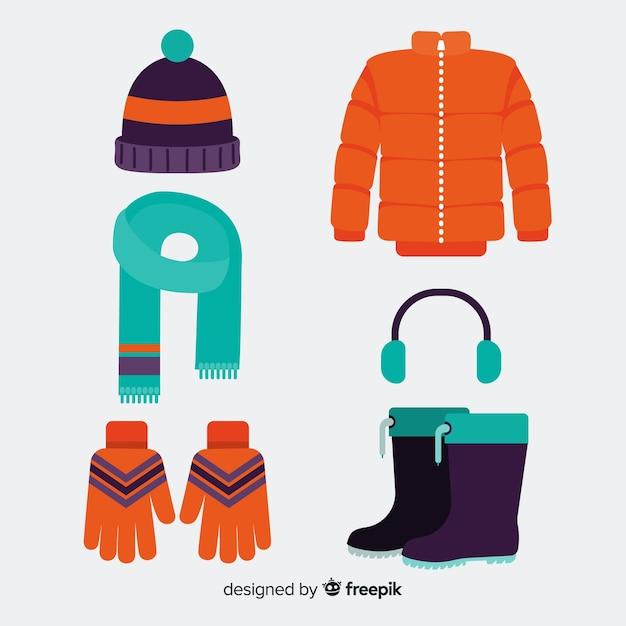 Vêtements D'hiver Et Essentiels Vecteur gratuit