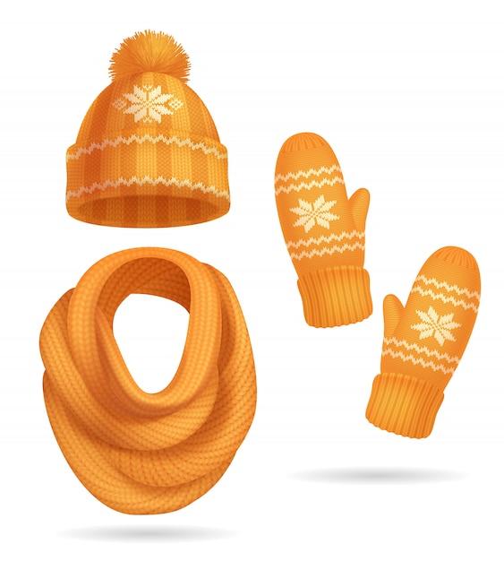 Vêtements D'hiver Tricotés Jaunes Réalistes Avec Chapeau Et écharpe Isolés Vecteur gratuit