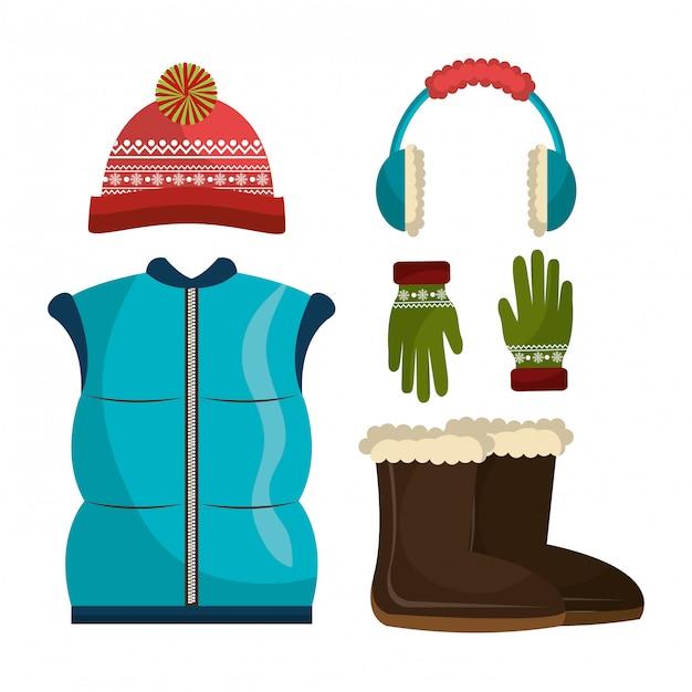 Vêtements D'hiver, Vêtements Et Accessoires Vecteur gratuit