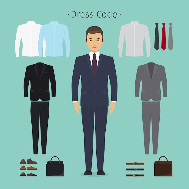 Vêtements homme d'affaires Vecteur Premium