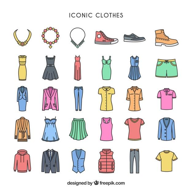 Vêtements iconiques colorful Vecteur gratuit