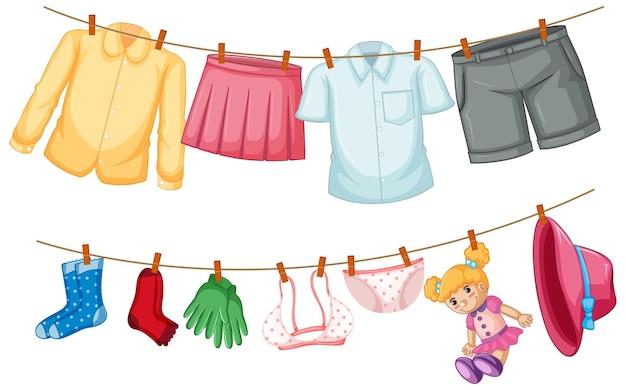 Vêtements Isolés Suspendus Sur Fond Blanc Vecteur gratuit