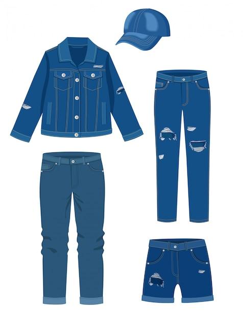 Vêtements En Jean Vecteur Premium
