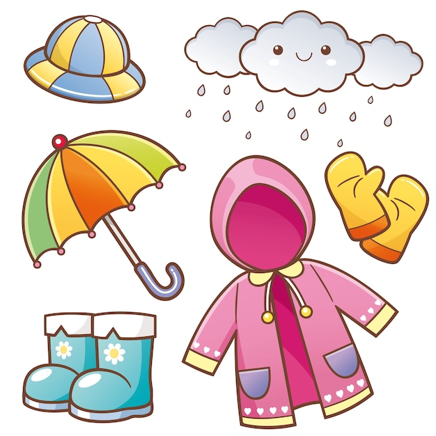 Vêtements de pluie Vecteur Premium